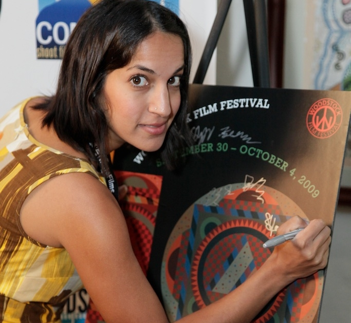 Suzi Yoonessi signing in at the 2009 Woodstock Film Festival