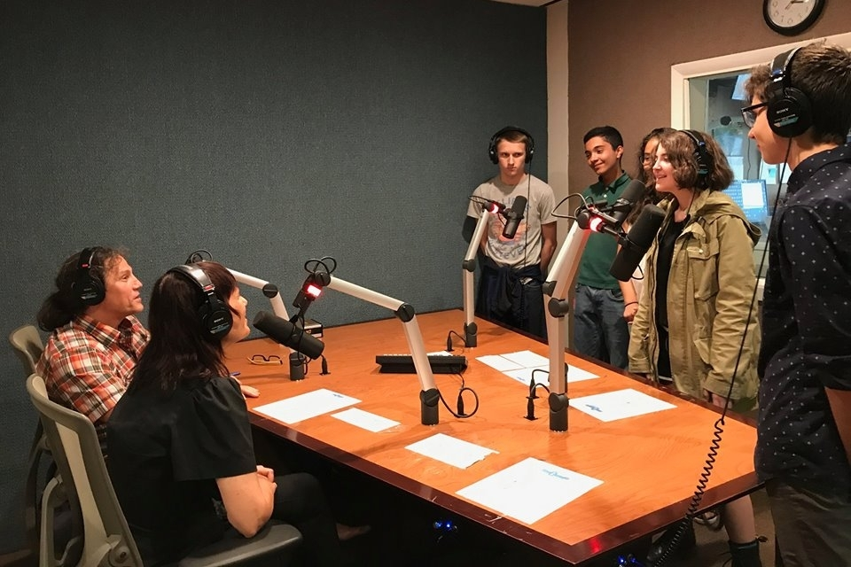 Students being interviewed at  Radio Kingston  by  Jimmy Buff