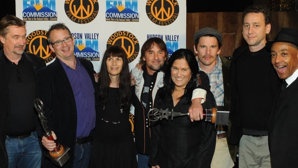 Honorary Maverick Award recipient Richard Linklater with Geoff Gilmore, Ted Hope, Meira Blaustein, Barbara Kopple, Ethan Hawke, John Sloss, Giancarlo Esposito at the 2009 Woodstock Film Festival.