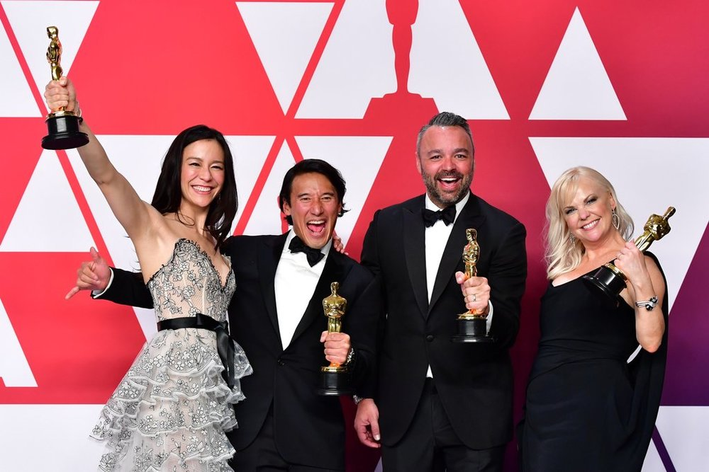 Elizabeth Chai Vasarhelyi, Jimmy Chin, Evan Hayes and Shannon Dillon winning Best Documentary at the 2019 Academy Awards