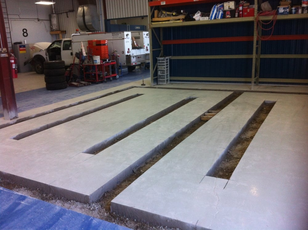 Mechanical bay required some concrete alterations to make way for a new light railing system.