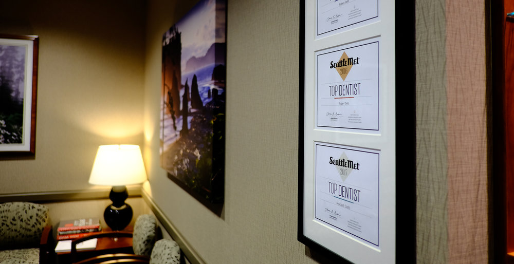 Awards and waiting room at Dentistry in Bellevue