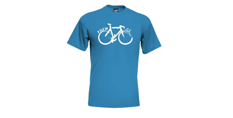 Phew blue bike t shirt phew for Bike and cycle shoppe shirt