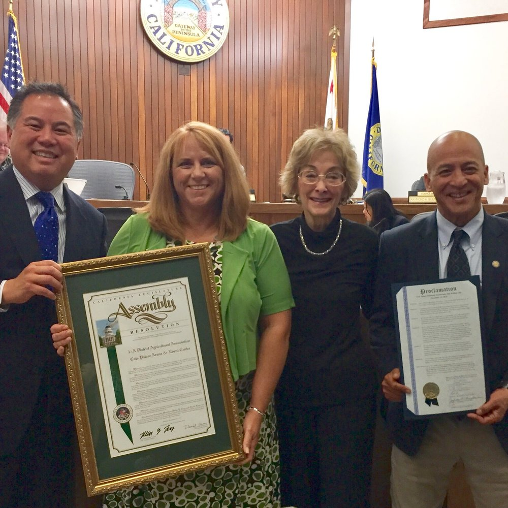 Cow Palace Arena proclamation for their 75th Anniversary from city of Daly City and San Francisco Assemblymember, Phil Ting.