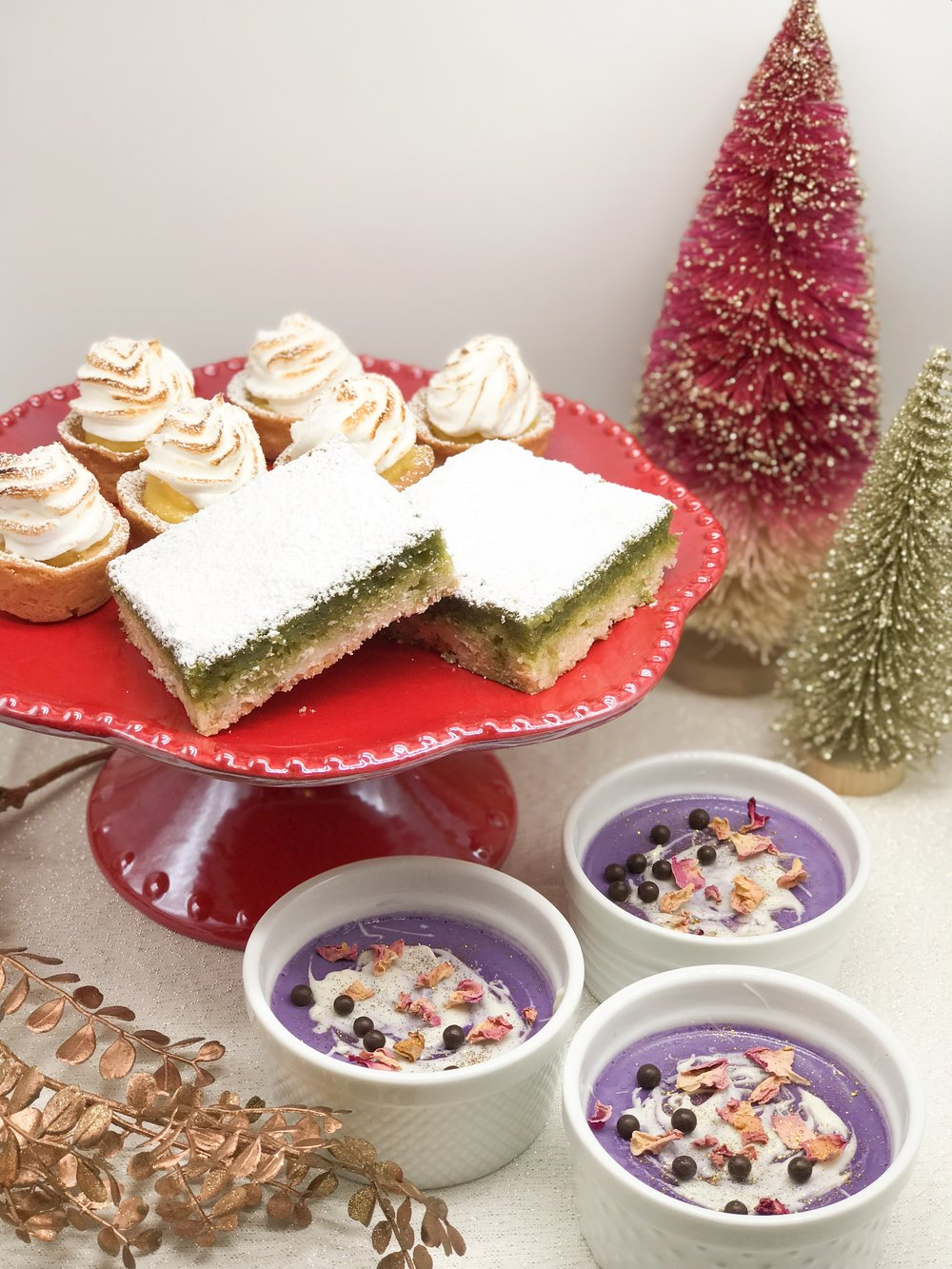 Sweet Condesa will be serving a dessert sampler consisting of  Brazo de Mercedes Tartlet, Pandan Coconut Bar and Ube Panna Cotta  at Parol Fest this year.