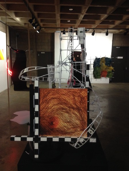 """View of the exhibition """"Conspiracies are Things"""", curated by Acarín at the Abrons Center, in 2016 featuring works by Sarah Anderson, Deville Cohen, Nick Doyle, Kolbeinn Hugi + Taraka Larson, Juan Kasari, and Gabriel Pericàs"""