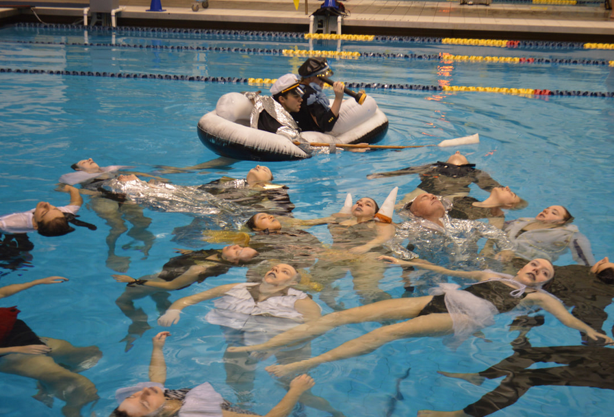 """Titanic, a deep Emotion Performance shoot at The Canham Natatorium, University of Michigan with Rebekah Modrak's Students of """"Dressing up and down"""" class, Stamps School of Art and Design in Collaboration with University of Michigan Synchronized Swimming team- Photos by Rebekah Modrak and Natasha Sharp, October 2018"""