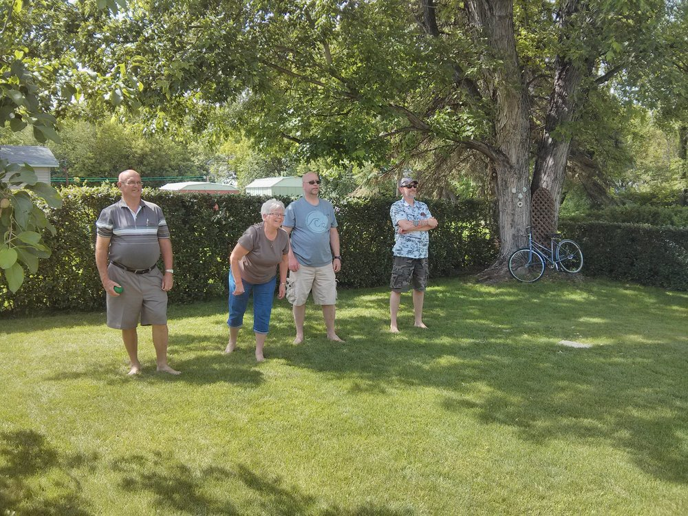 A family game of bocce ball - part of Nadia's bday celebration