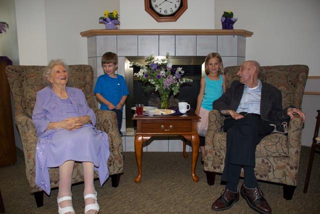 Grandma & Grandpa with two of their great-grandchildren