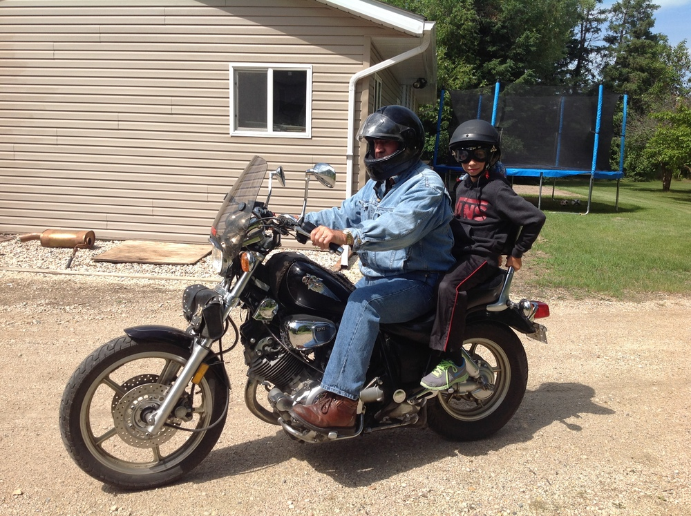Going for a ride with Grandpa B.