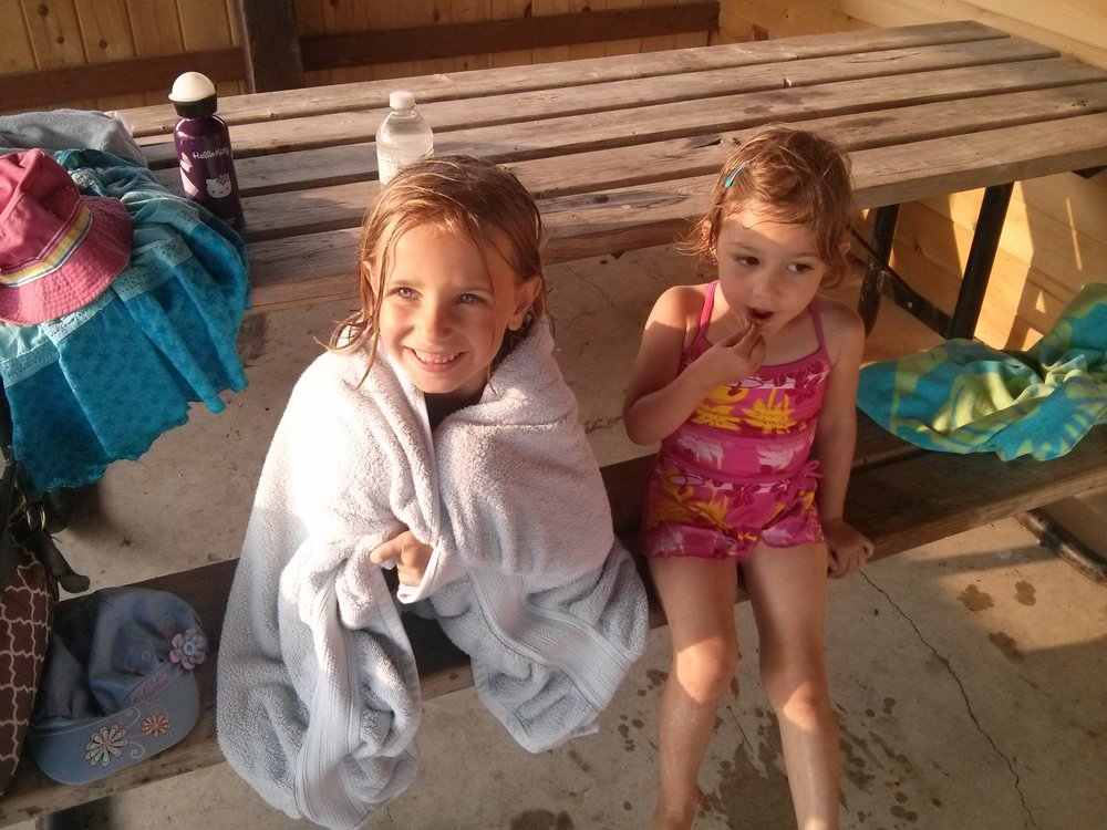 Taking a breather at the splash park