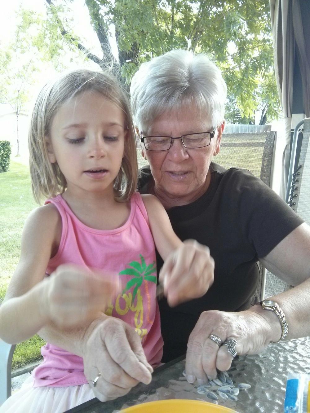 Enjoying sunflower seeds with Grandma G.