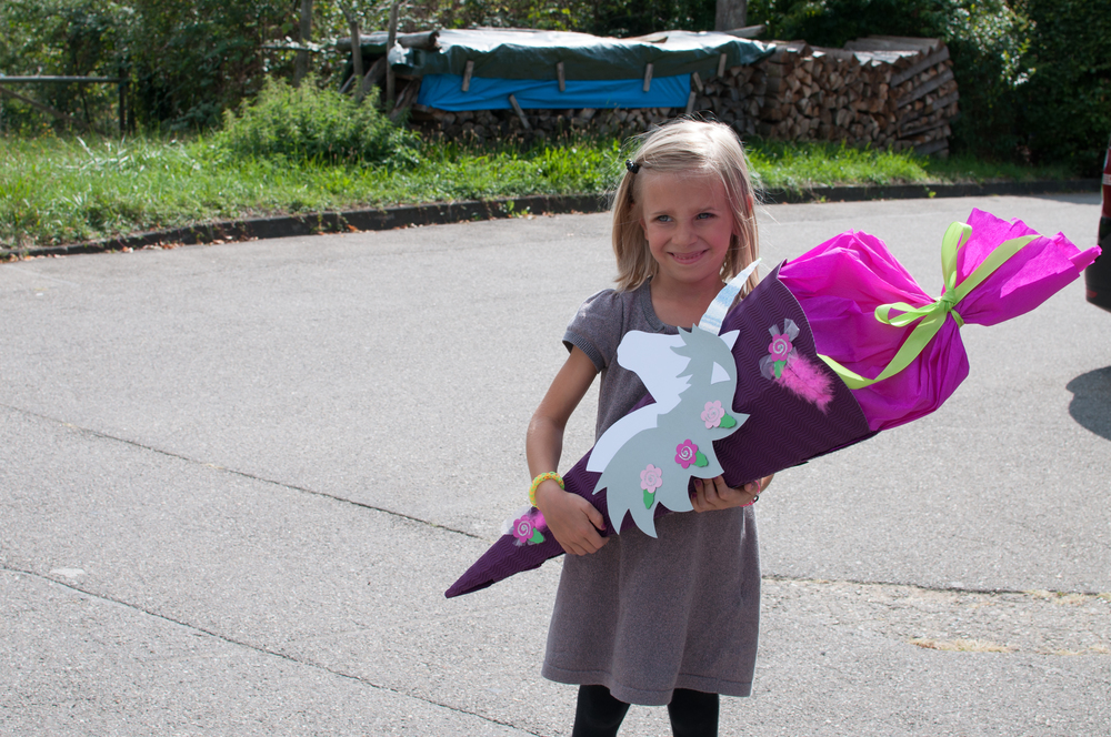 With her Schultüte