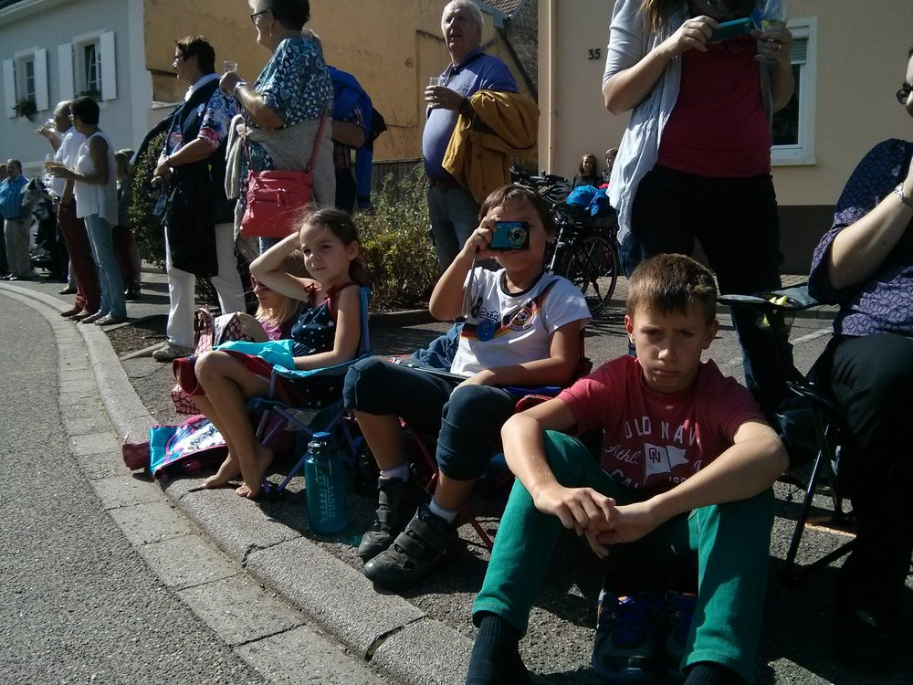 Waiting for the parade to begin. Looking none to pleased... :)