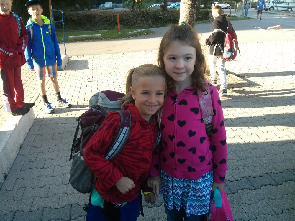 First FULL day of school for grade 1's. Nadia is with the first friend she made here in DE (from a BFA family as well).