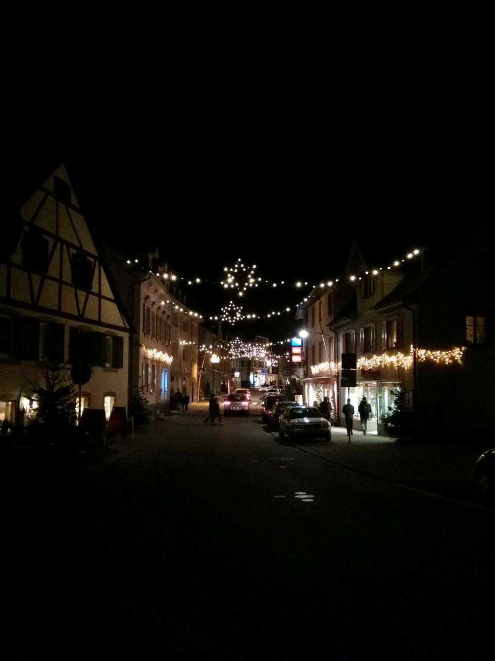 Kandern's main street lit up for Christmas