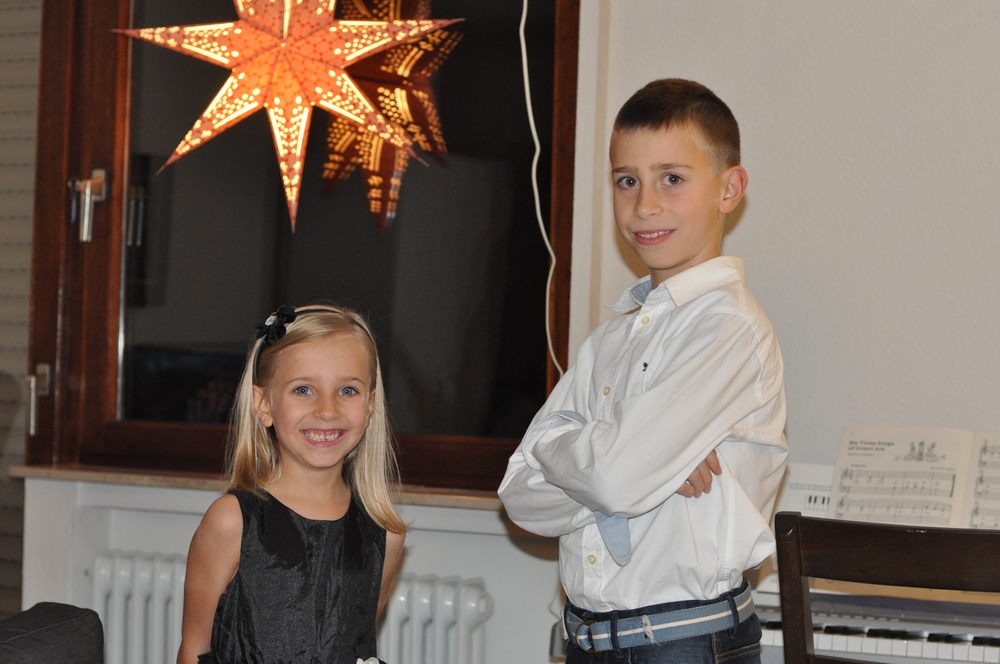 The kids ready before their Christmas concert