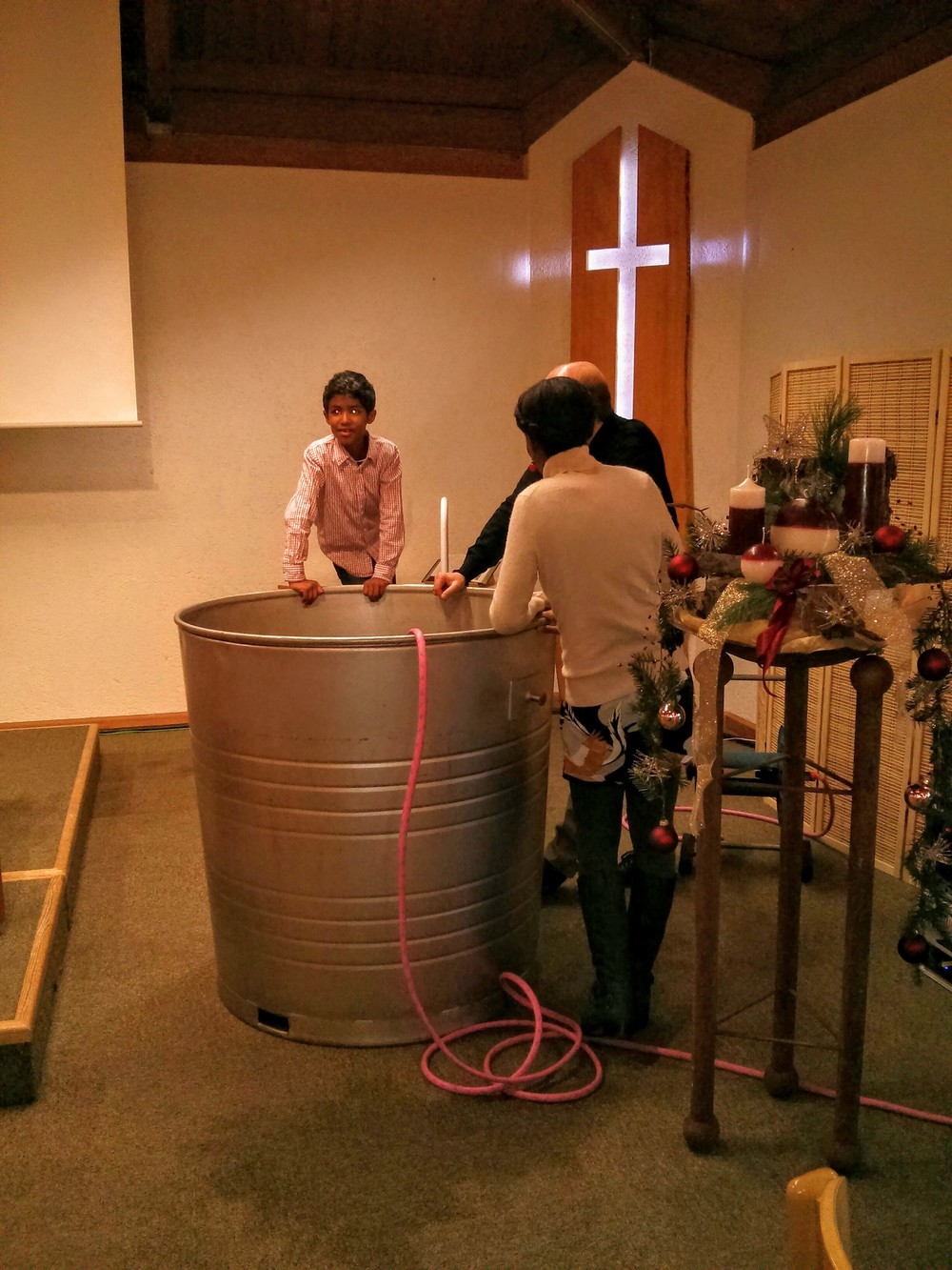 The baptism tank