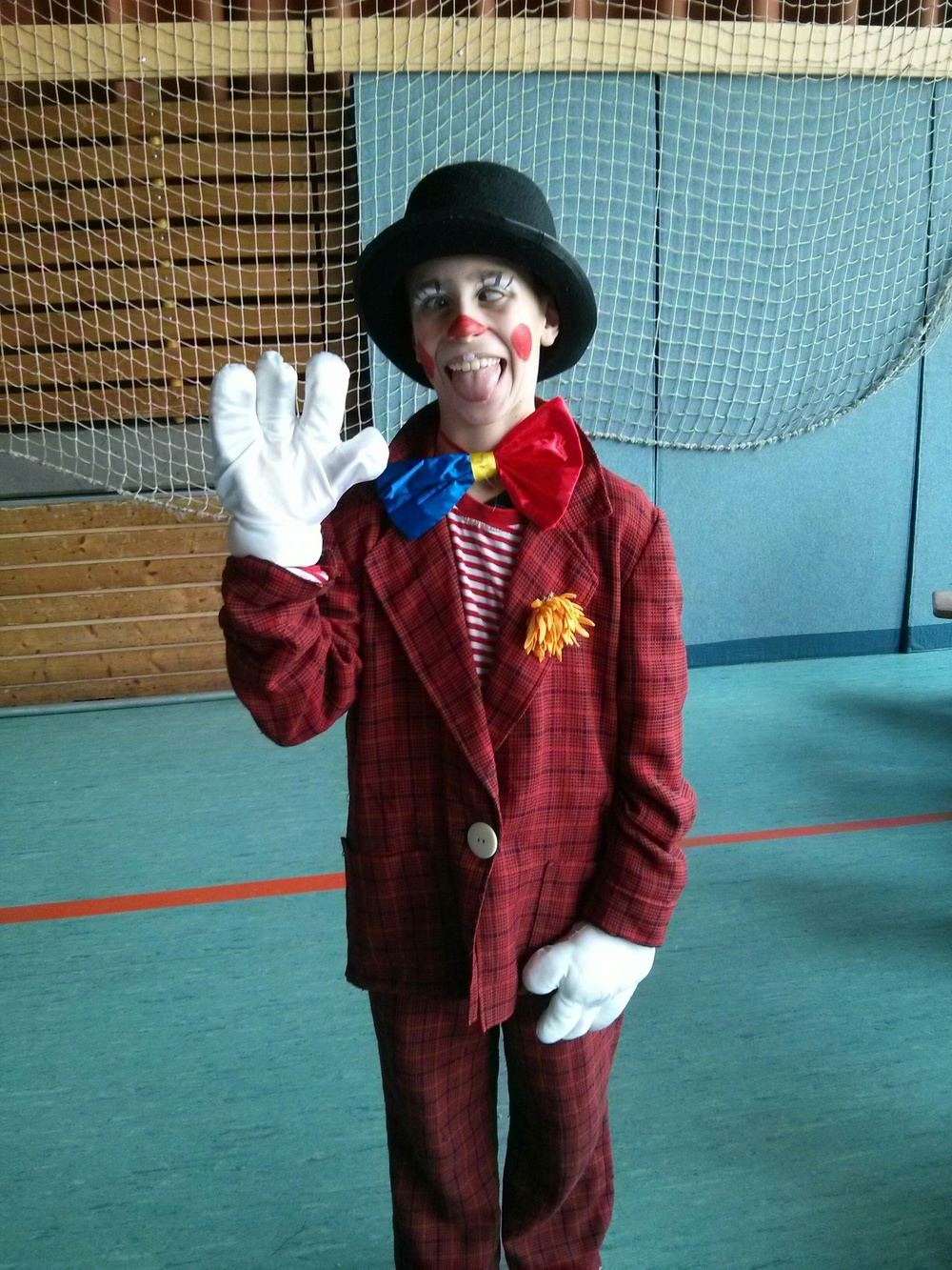 Ready for his clown performance