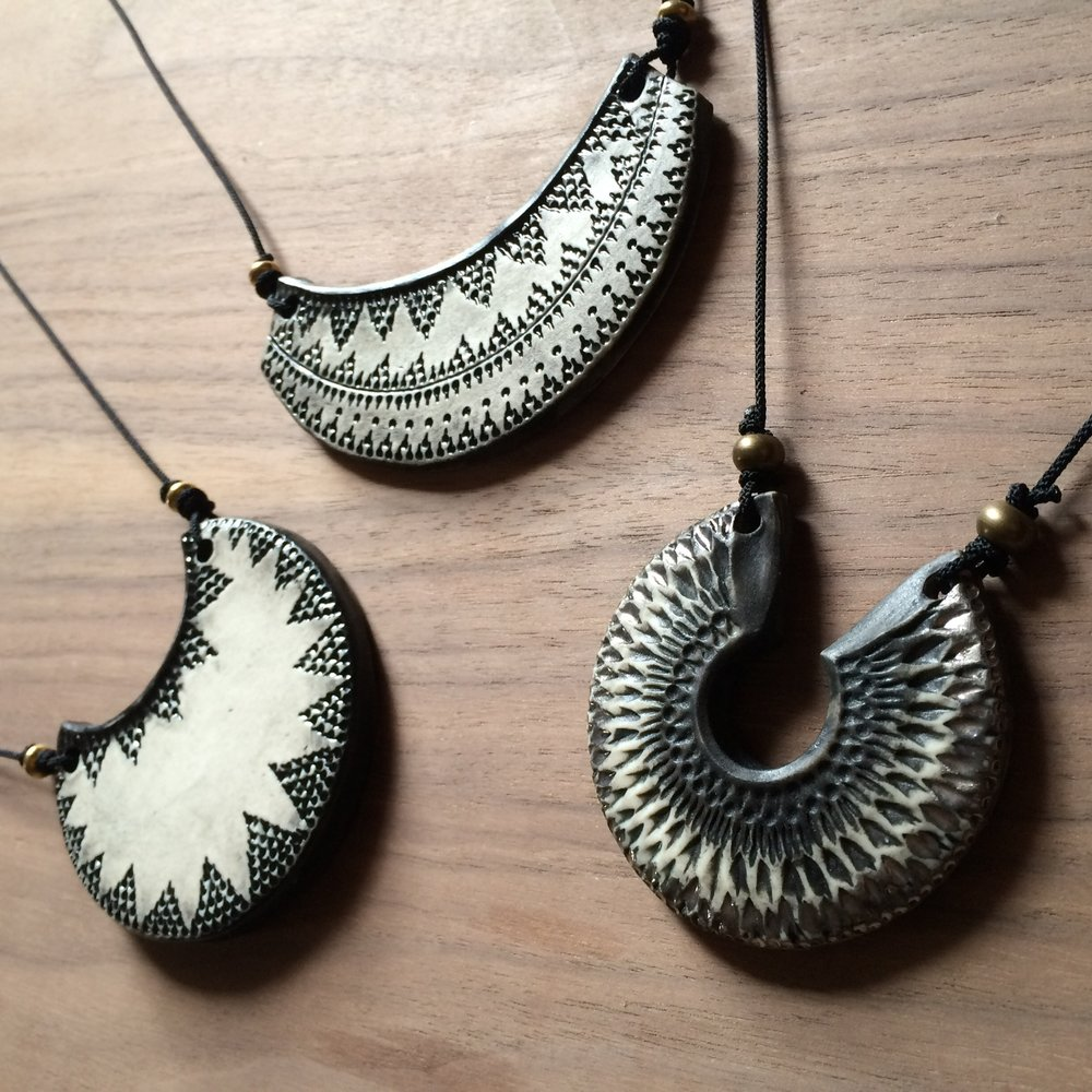 MATTE BLACK AND WHITE PORCELAIN NECKLACES ON SILK/NYLON CORD
