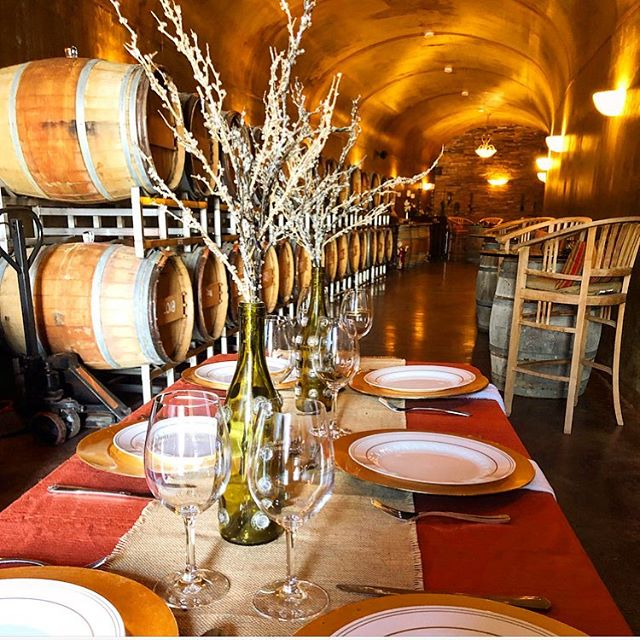 The table is set! Who would like to enjoy a Wine Cave dinner🍷#winecavedinner #tablescape #tabledecor #tablesetup #NBVW