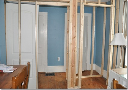 Here we bumped out into the room the door on the right is the existing Powder Room the door on the left is a closet.