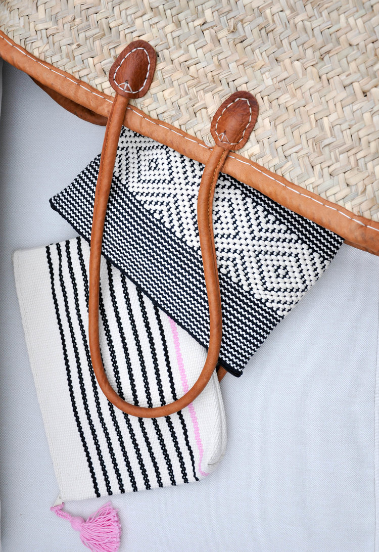 Teaselwood Black and White Striped Clutch