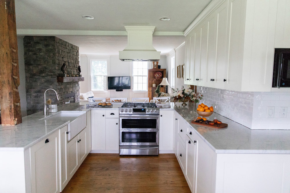 U shaped historic white kitchen Skaneateles new york interior designer