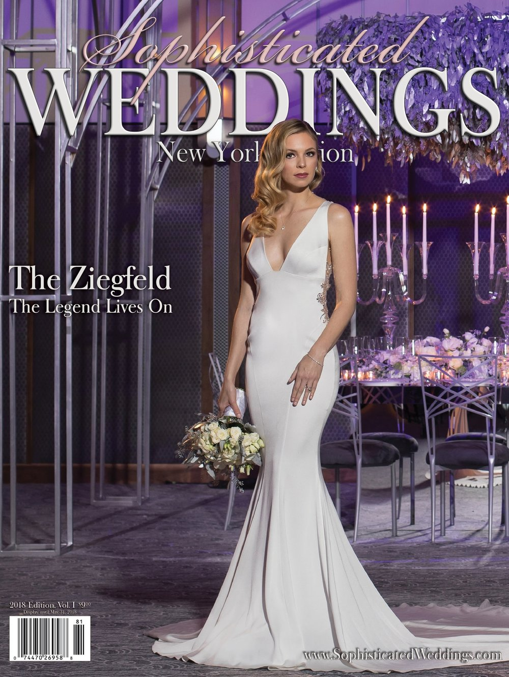 Sophisticated Weddings Magazine Cover - Photo shoot featuring Birch Event Design for the reopening of The Ziegfeld