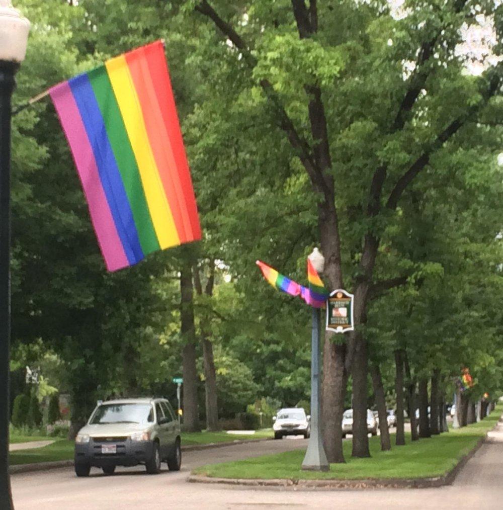Pride flags along Harrison Boulevard, Boise, June 2017. CREDIT TOM MICHAEL / BOISE STATE PUBLIC RADIO