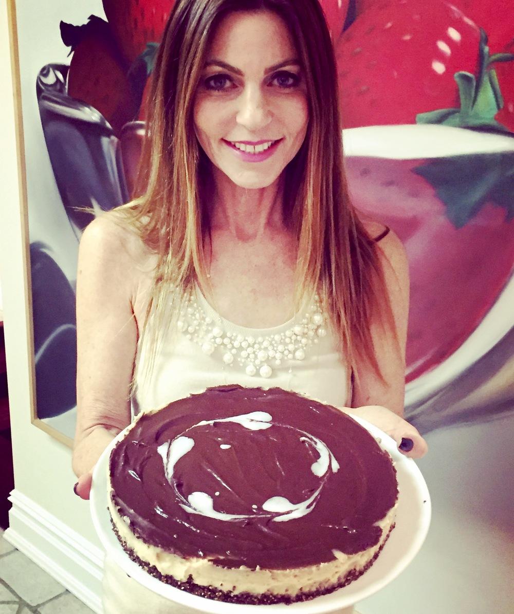 Raw vegan white chocolate and chocolate cheesecake.