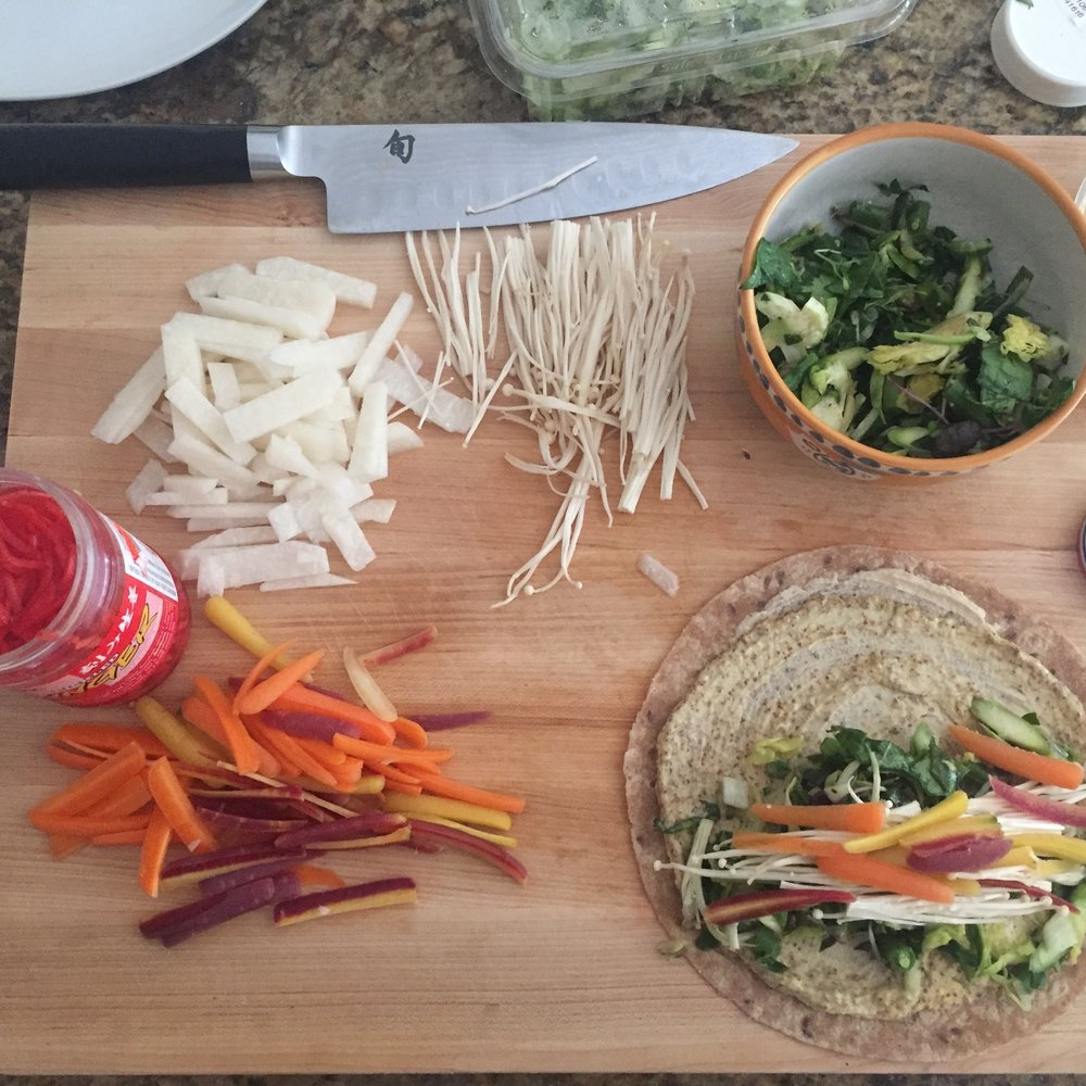 Ingredients for veggie wrap