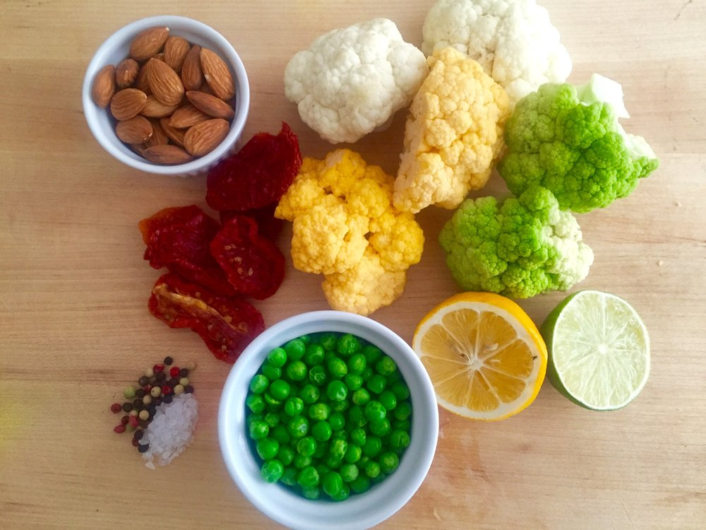 Mise en Place of Heirloom Cauliflower and Peas