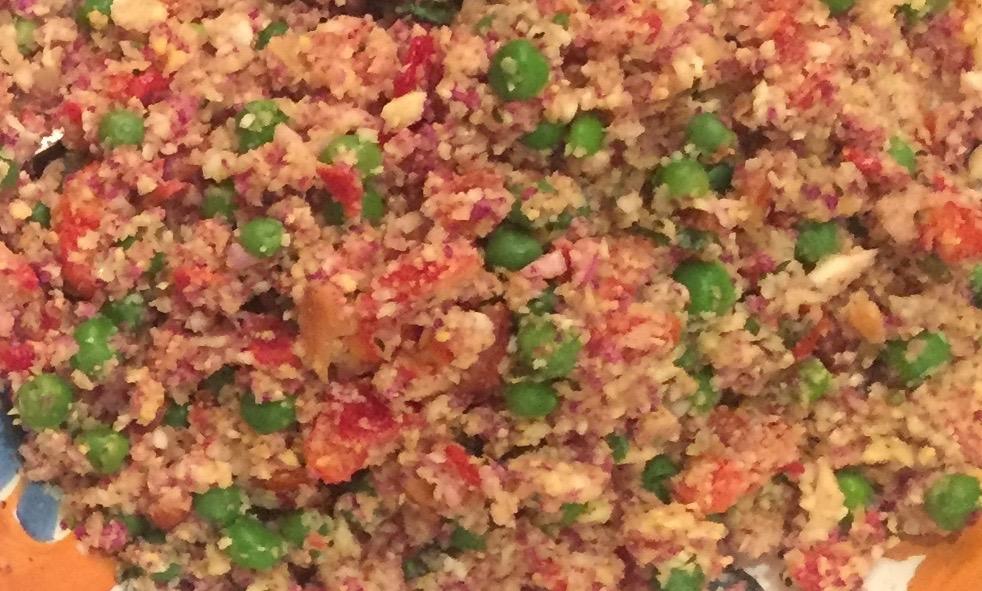 Heirloom Cauliflower Rice and Pea Salad