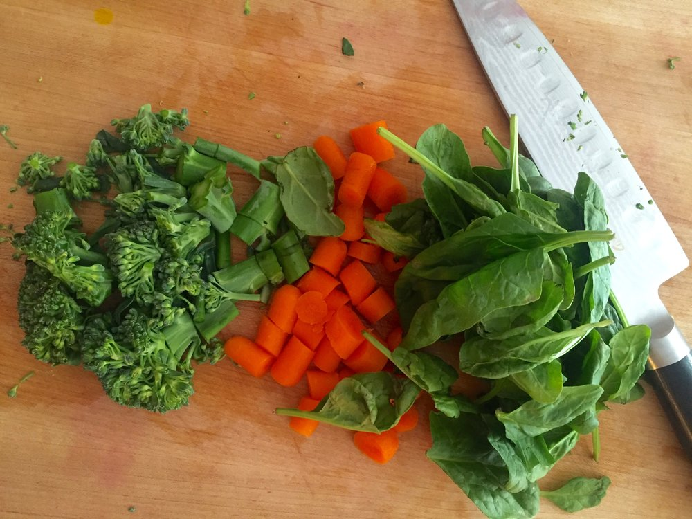 Rough chop veggies and add to food processor.