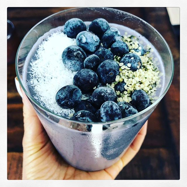 BLUE MAJIK /BLUEBERRY SMOOTHIE.  Blue is a hard color to find when eating the rainbow. The blue color itself is the most nutritious part of the food. Anthocyanins, catechins, quercetin, kaempferol plus other flavonoids are the photochemicals which naturally occur in blue food. These phytonutrients are powerful antioxidants for our bodies. Plus, this smoothie is just so damn good!  RECIPE 1 C plain coconut yogurt 1/2 C coconut water kefir 1 frozen banana  1/2 C frozen blueberries  1/2 C steamed & frozen cauliflower and zucchini, each  1 tsp blue majik spirulina  1 Tbs pea protein powder 1/2 tsp maca, mesquite, lucuma, each 1/2 C spring water - add as needed.  PROCESS  1. Blend all ingredients using the tamper to help mix.  2. Add water if it's too thick to blend.  3. Top with frozen blueberries, a sprinkle of hemp seeds and shredded coconut flakes.