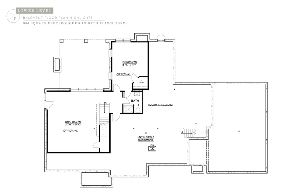 floor plans 254 country road rough−in future finish basement included