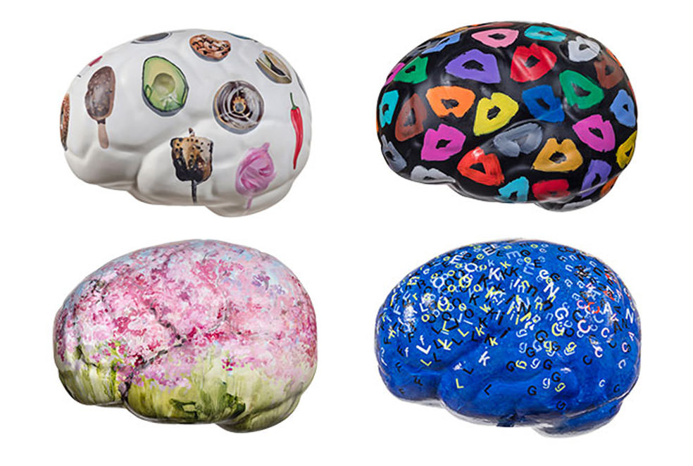 Artists (left to right, top to bottom) Erin Rothstein, Donald Robertson, Darlene Cole and Alice Teichert, bring a unique visual approach to the ideas around active and healthy brains.