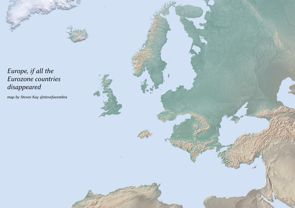 A map without the Eurozone countries