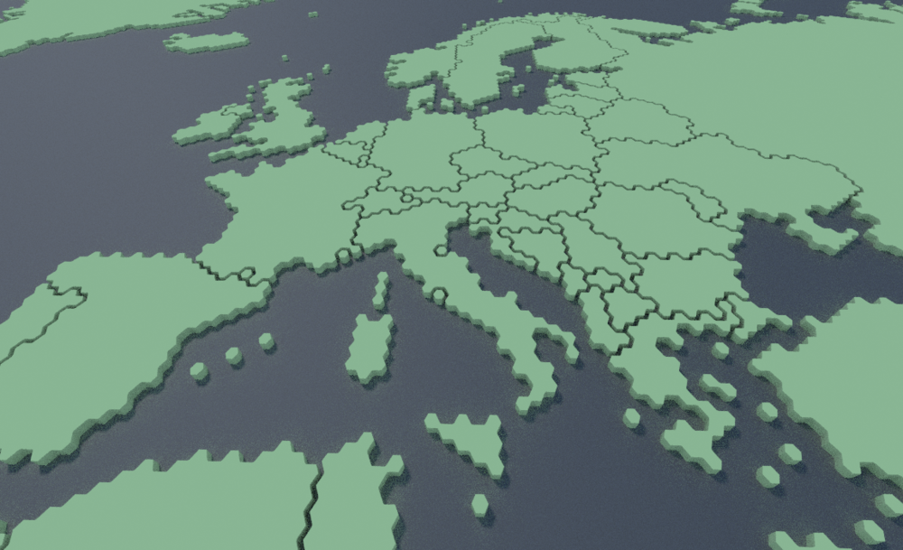 Europe, as a 3d hexagonal grid