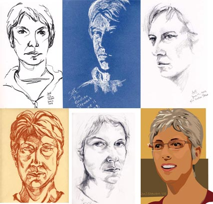 6 drawings of Kim Stewart