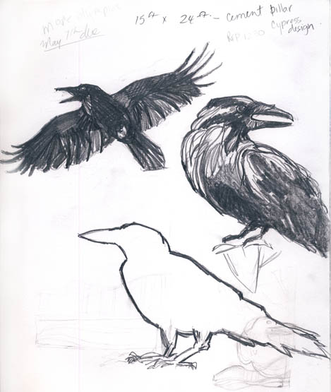 A page from my sketchbook reveals my facination with ravens