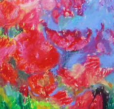 Close up of floral pastel painting