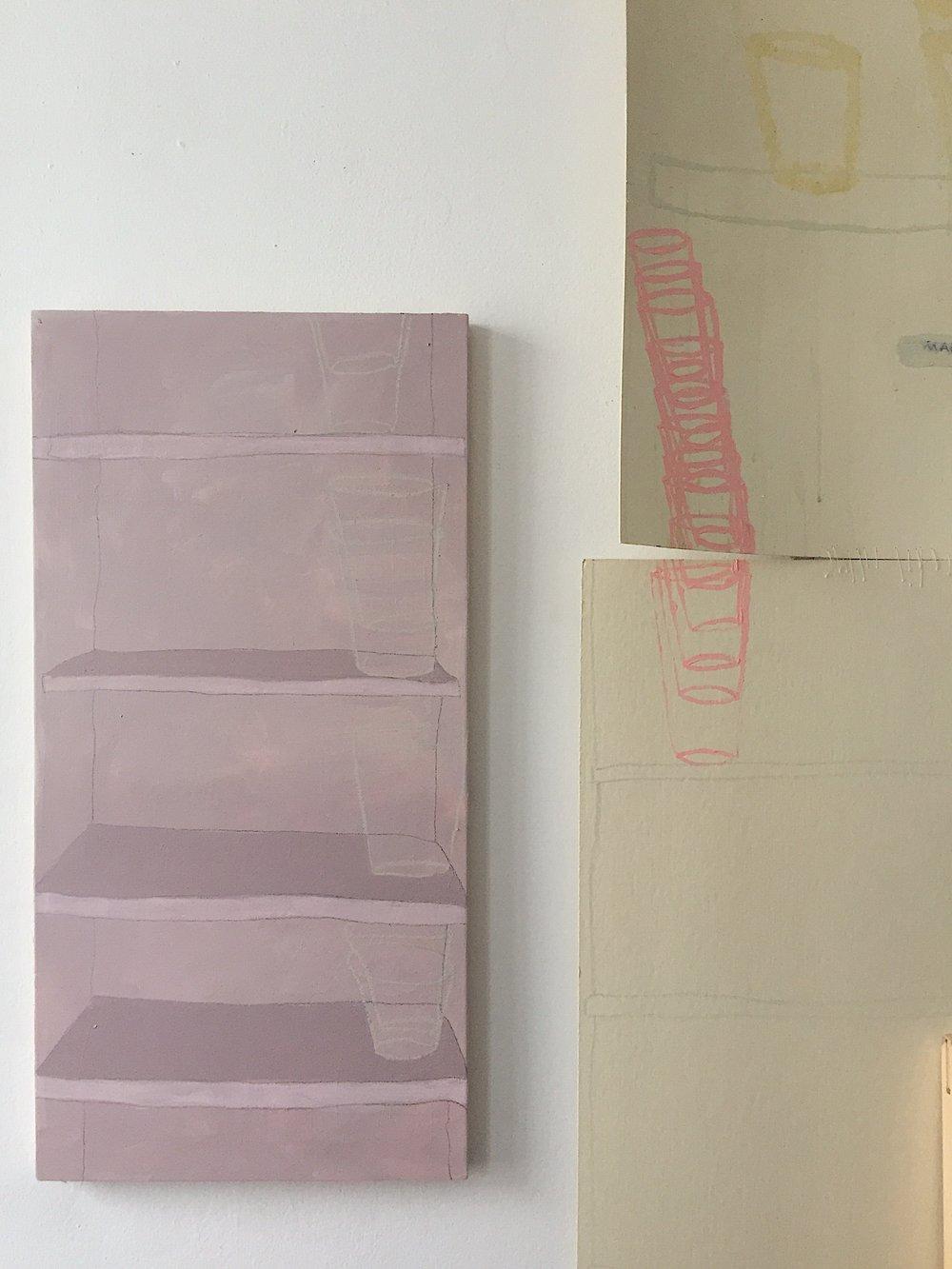 study of shelves holding  oil on panel