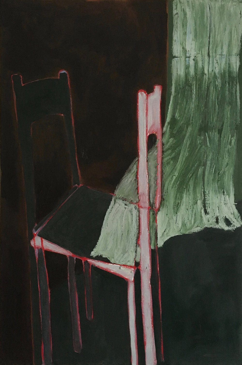 "chairs and curtain in November  oil on canvas  36""x24"""