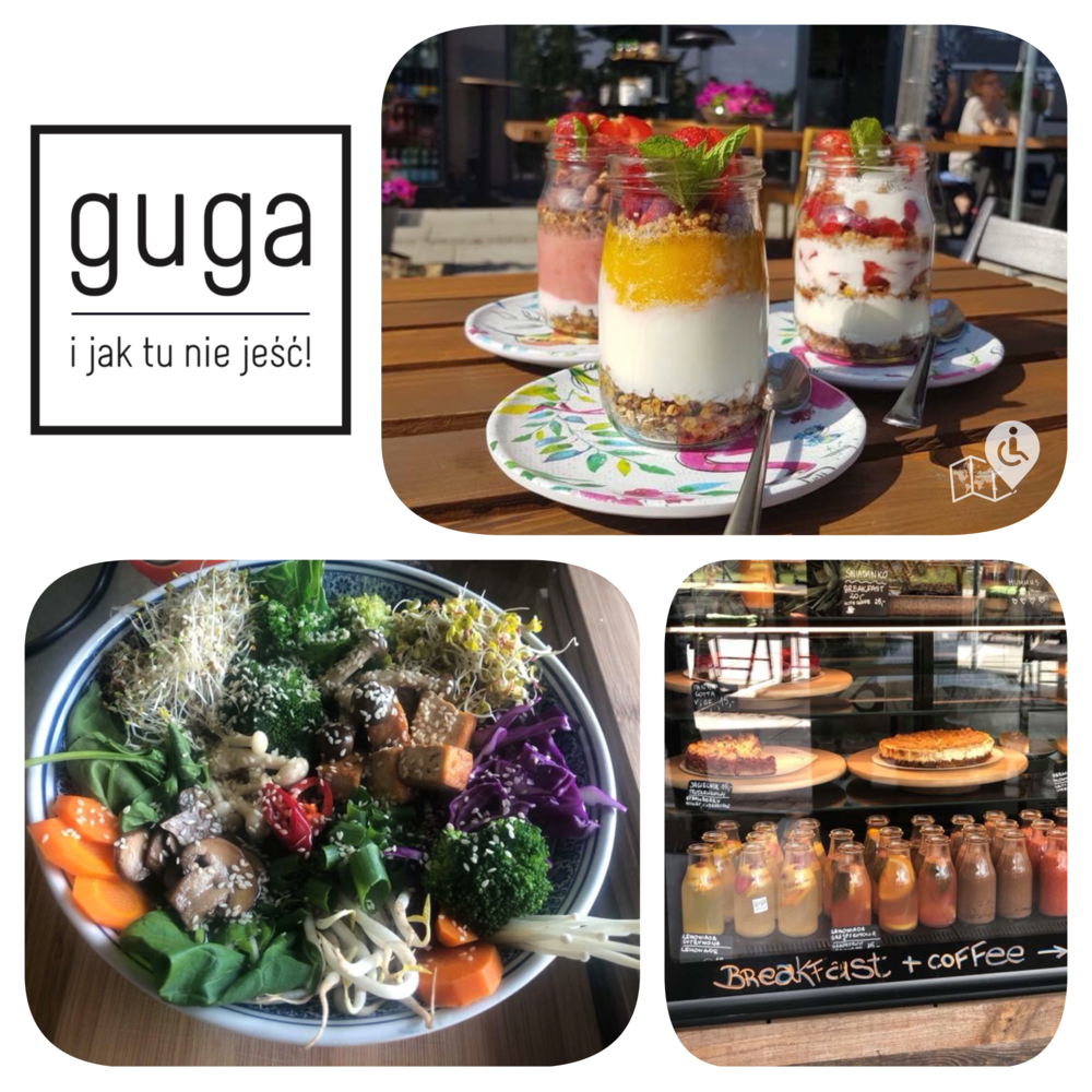 Two adjacent cafes by Guga Food catering. Guga Sweet (approx. half vegan) has coffee, cakes, smoothies and usually one savory item. Guga Spicy (mostly vegan) serves tapas and wine. Gluten free options