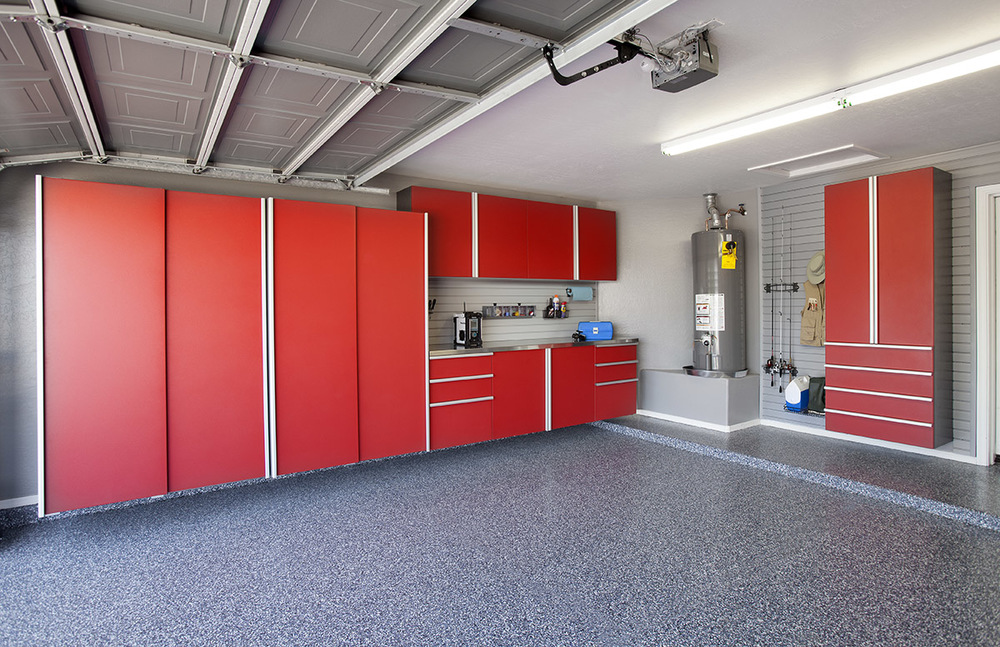 Red Cabinets w Stainless Workbench-Blue Ice Floor-Grey Slatwall-Angle- Aug 2013.jpg