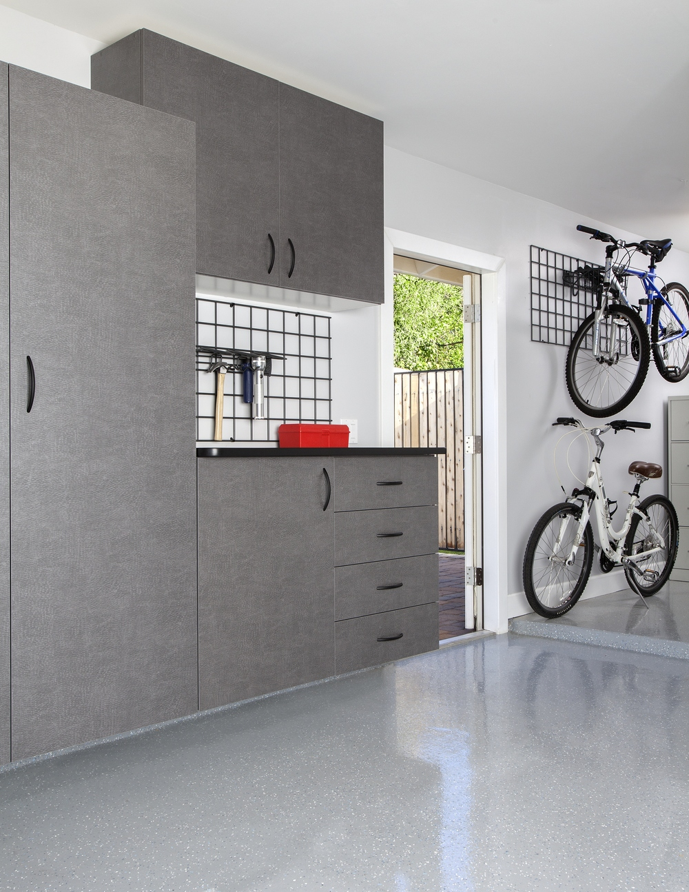 Pewter Cabinets with Ebony Star Workbench-Bike Racks 2012.jpg