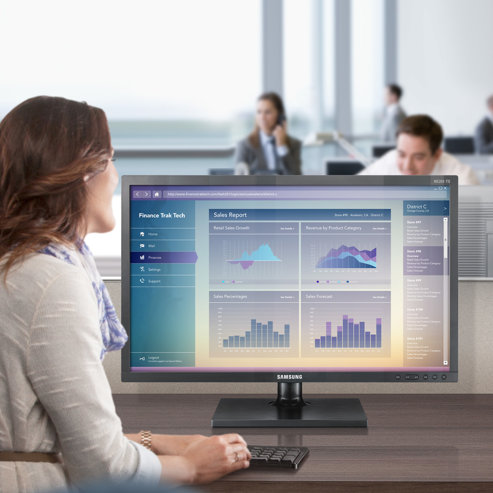 "<span style=""font-size:90%"">Samsung Monitors</span><br><br><b><span style=""font-size:140%;line-height:1.1;"">Demonstrating monitor use in multiple verticals</span></b>"