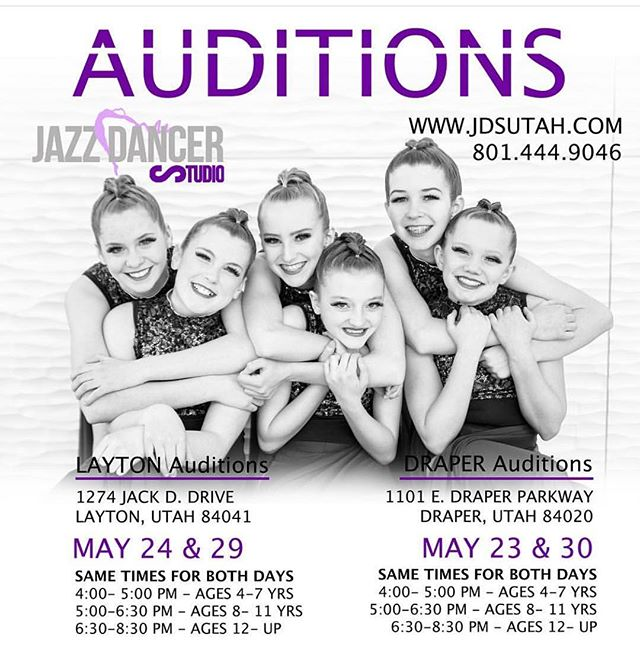 Draper starts tomorrow!! Register online www.jdsutah.com or just come to your audition workshop time and we will register you at the door!!